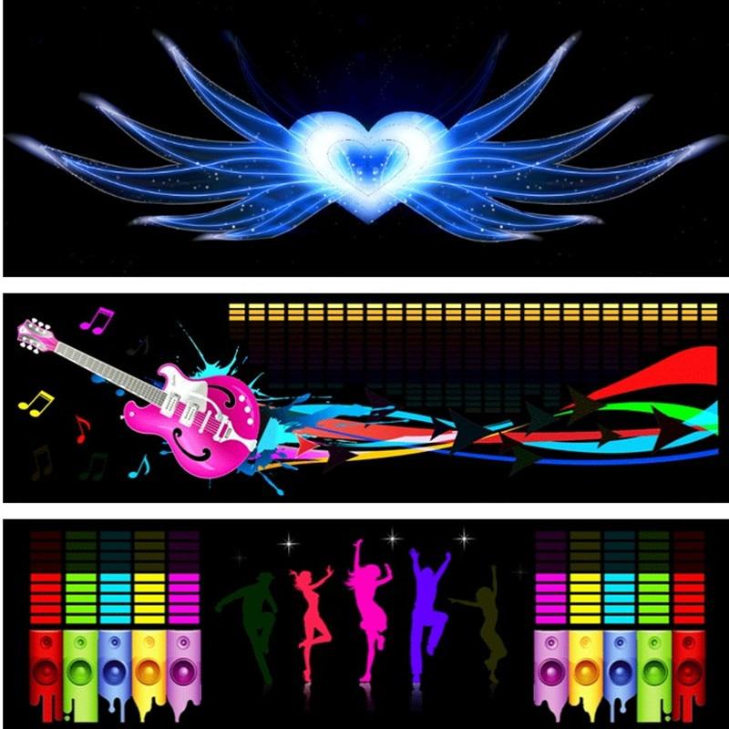90Cm*25Cm Car Music Rhythm Lamp Car Sticker Sound Rhythm Activated El Equalizer Panel Multi Designs Led Interior Lighting
