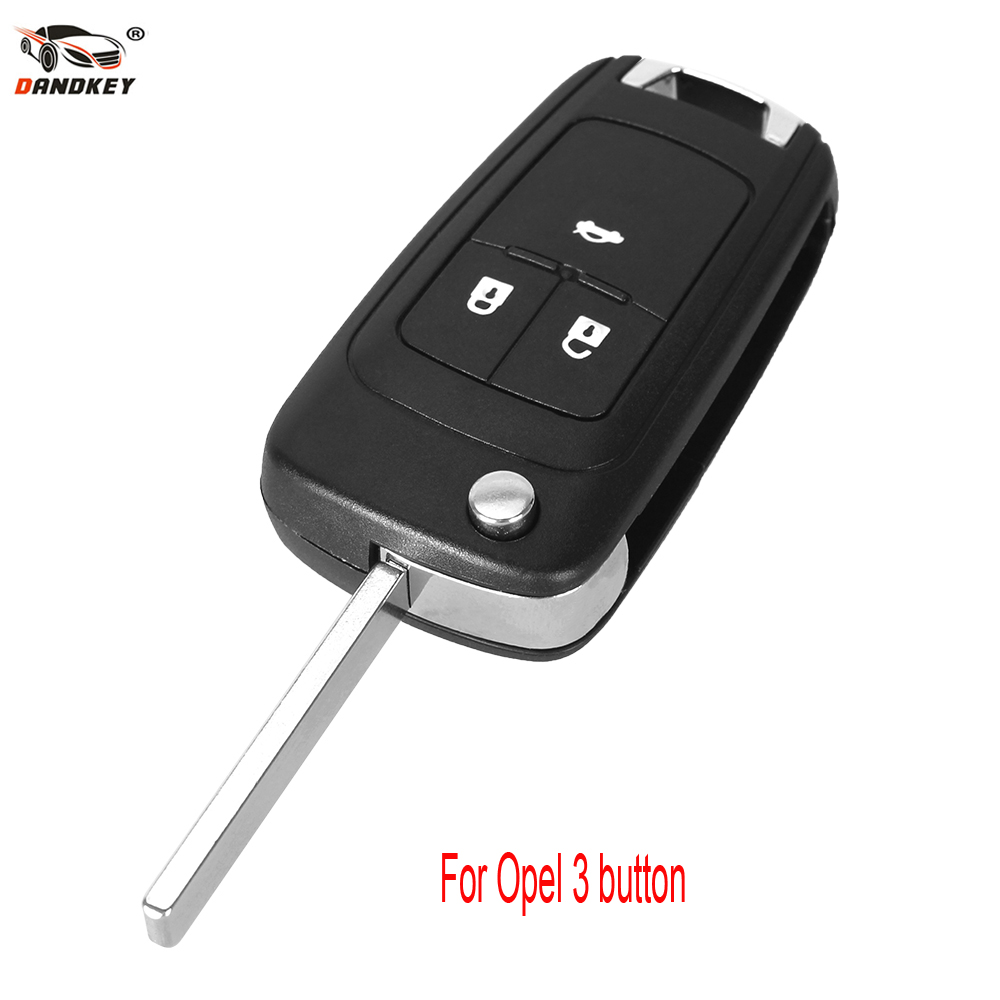 DANDKEY Replacement Shell Flip Folding Remote Key Case for OPEL VAUXHALL Insignia Astra 3 Button HU100 Uncut Blade цена