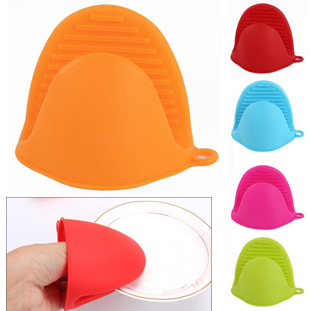Kitchen Heat Resistant Silicone Oven Pot Dish Clip Glove Hand Cover Protector Set