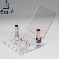 Makeup Cosmetics Lipstick Organizer Clear Acrylic 12 Grids Drawers Display Box Storage Free Shipping