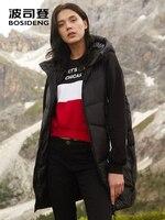 BOSIDENG 2018 new women's down vest early winter wearing hooded long ladies solid color vest jacket waistcoat B80132006