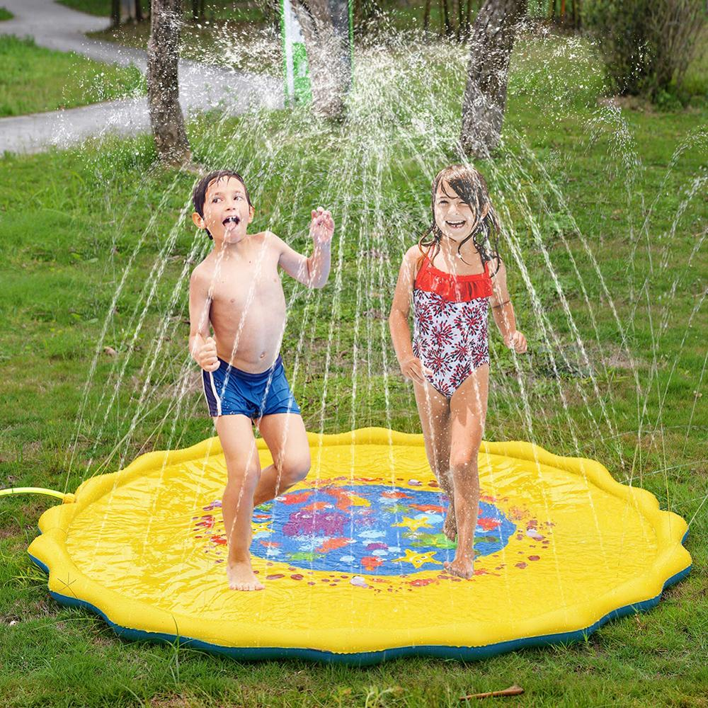170cm Summer Outdoor Inflatable Kids Water Splash Play Mat Summer Garden Gaming Sprinklers Cushion Toys Fun Toys