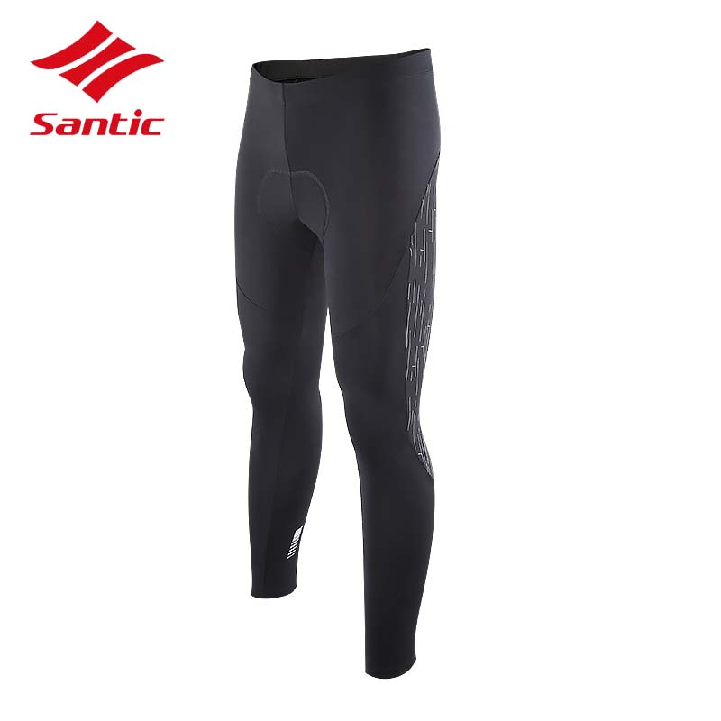 Santic Full Cycling Pants Men Winter Fleece Warm Reflective MTB Bike Pants 2017 Tights Bicycle Trousers Cuissard Velo Cyclisme santic mtb cycling pants bicycle bike downhill pants women trainers cycling tight pants l5c05058p