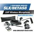 Free Shipping! UHF SLX24 BETA58 Handheld Karaoke Wireless Microphone System SLX with all rack kit accessories R5 Band 800-820Mhz