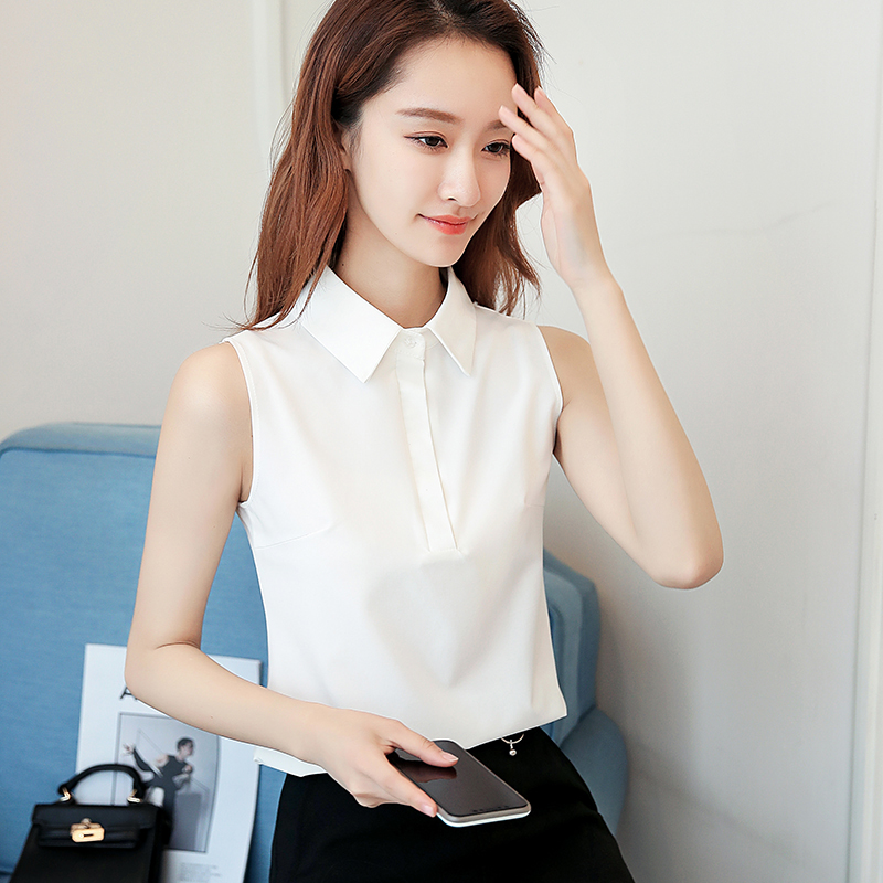 Office Work Wear Women Spring Summer Style Chiffon   Blouses     Shirts   Lady Casual Sleeveless Turn-down Collar Blusas Tops DF1813