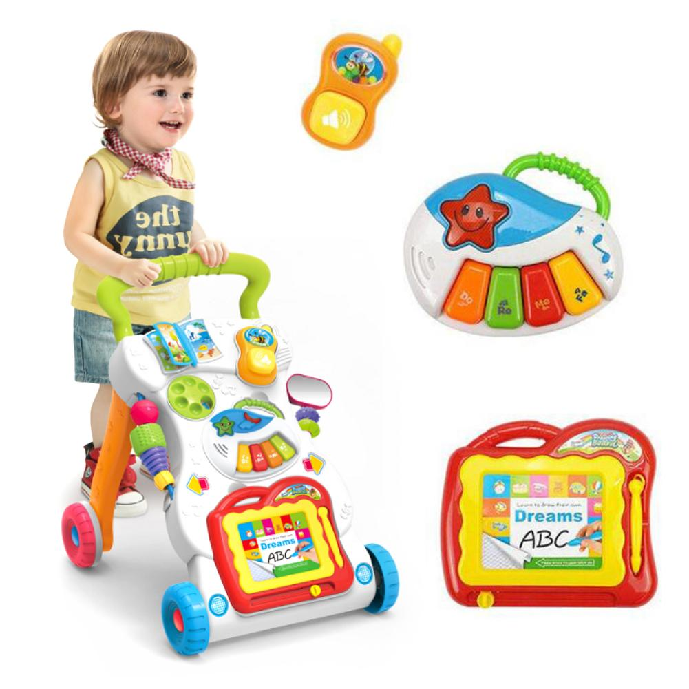 Baby Stroller Music Walker Toy Anti Rollover Learning Walking Infant Trolley Baby Walker Baby Care Educational Toys Music Toys
