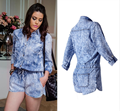 2016 High-End Women's Turn-Down Collar Loose Denim Long Sleeve Playsuits Snowflake Blue Pockect Buttons fashion Romper Wears