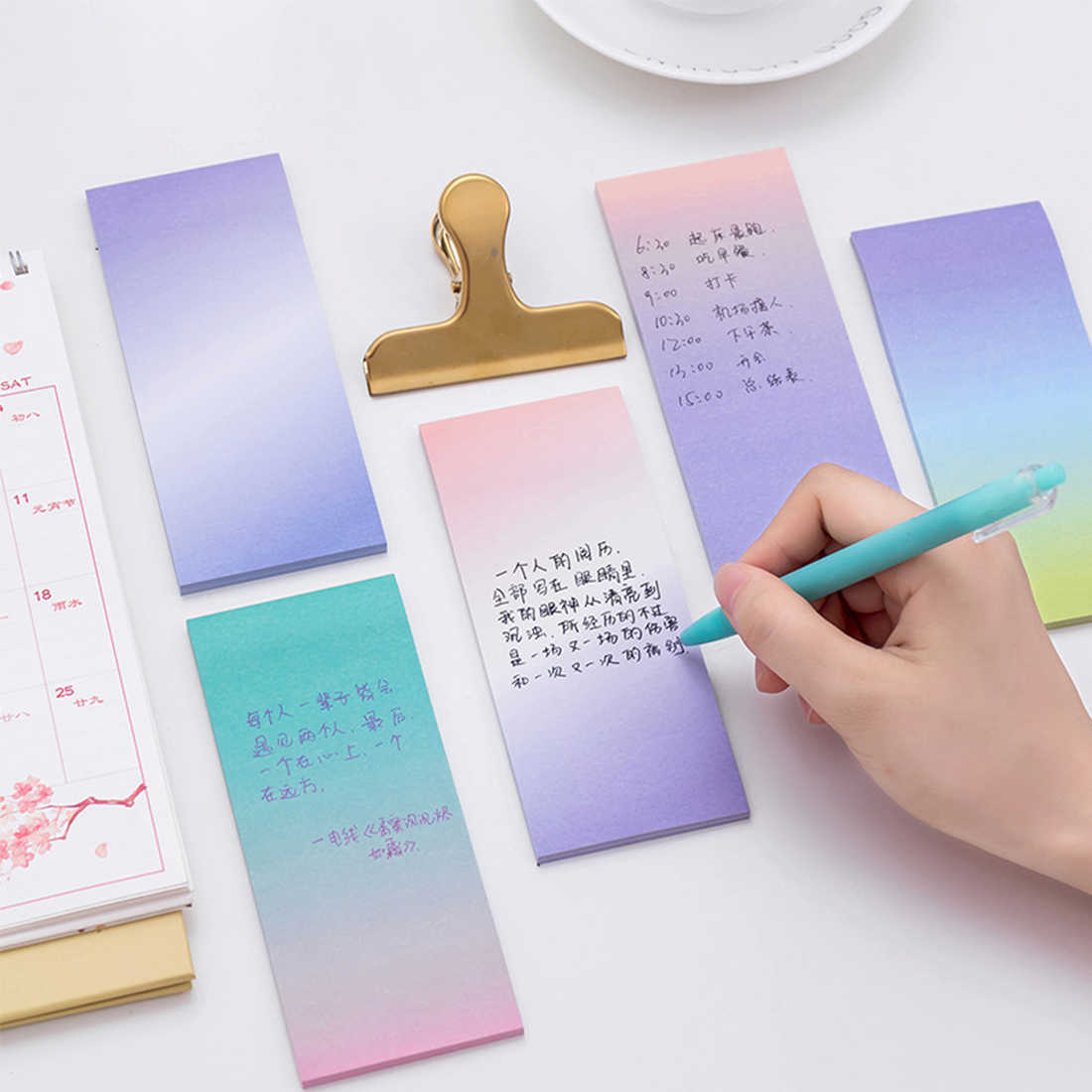 FangNymph 1 Pcs Cute Rainbow Memo Pads Decoration Stickers Self-Adhesive Stationery Sticky Notes N Times Paste