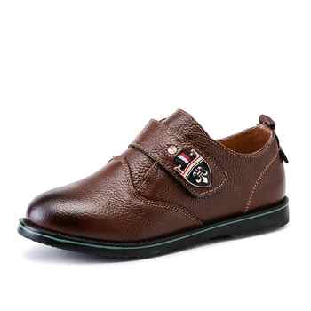 Boys Genuine Leather Shoes for Kids Wedding Show School Dress Flats Shoes Light Classic Children Performance Loafer Moccasins