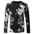 New 2016 Fashion Brand Floral Sweater Pullover Men Round Collar Casual Slim Fit White Flowers Print Knitted Men Clothes 4XL