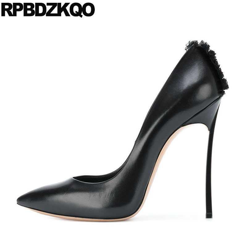Pointed Toe Pumps Luxury Brand Women Shoes 2018 Size 4 34 3 Inch  Crossdresser Thin 33 ff258d7108e6