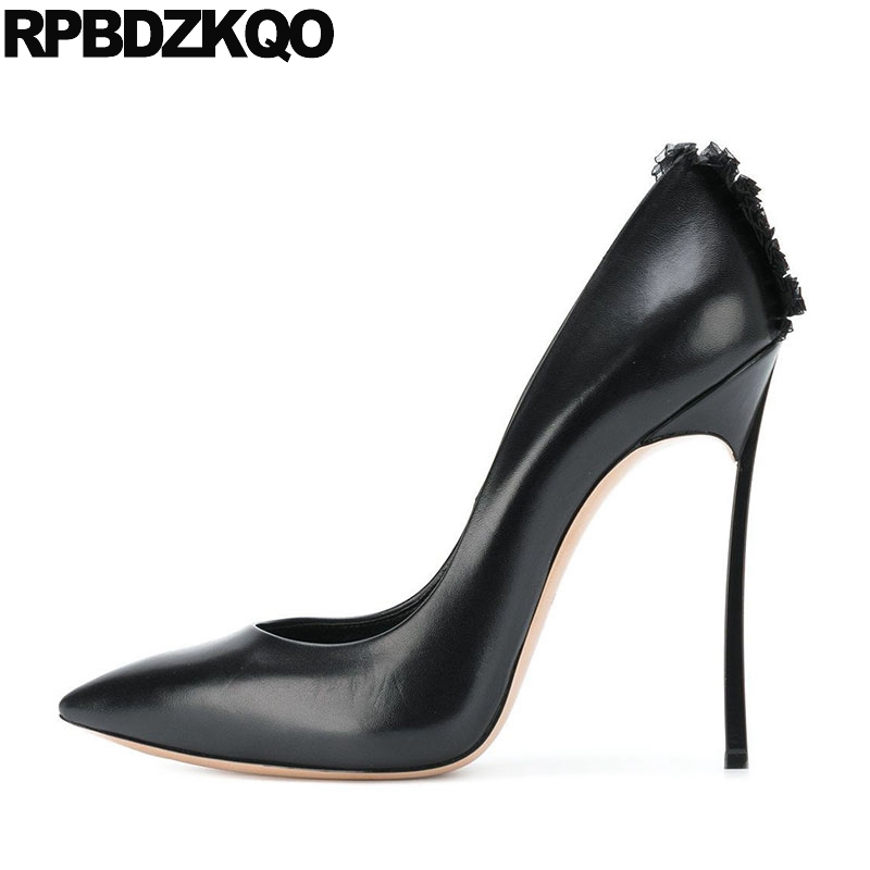 Pointed Toe Pumps Luxury Brand Women Shoes 2018 Size 4 34 3 Inch Crossdresser Thin 33 New Fashion Sexy Black High Heels Plus fletite top quality elegant embroidery 8 color women pumps pointed toe thin high heels 2018 new fashion luxury women shoes brand