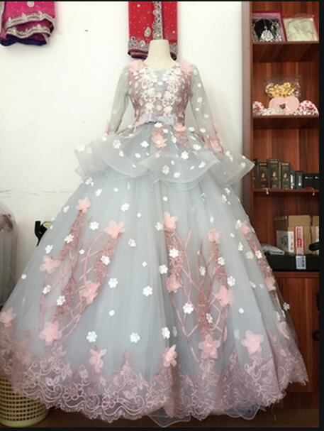 Us 195 0 2017 Baru Kedatangan Ball Gown Nyata Gambar Gaun Pengantin Perak Pink Puffy Pricess Berongga Kembali Seksi Gaun Pengantin Hot Sale Di
