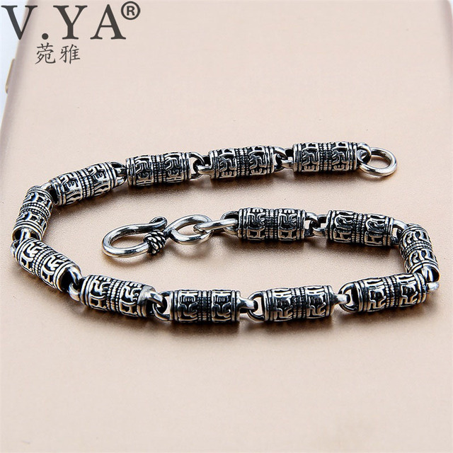 V.YA Black Thai Silver Devanagari Bracelet Mens Six Words Mantra Bracelet Lucky Security Bracelet 925 Sterling Silver Jewelry