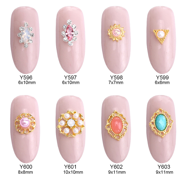10pcs Pearl Nail Art Metal Gold Studs Resin Stone Decorations Accessories Polish Gems Diy Manicure