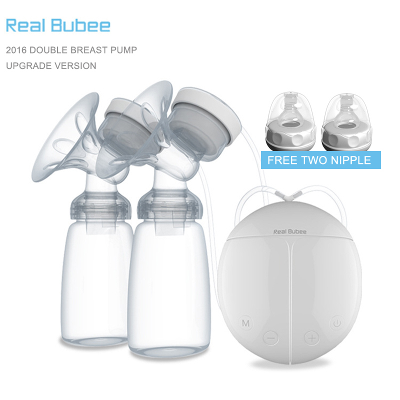 2017 Upgrade version Double electric breast pumps Free two Nipple Powerful Suction DIY breast pump with baby milk bottles new manufacturer direct low price pink usb breast pump milk powerful nipple suction breast bottle feeding electric breast pumps