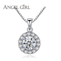 Round Flower Pendants CZ Zircon Solid 925 Sterling Silver Necklaces Long Box Chain Women Jewelry Accessories