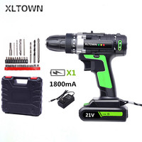 XLTOWN 21v Home Cordless Electric Drill Multi Motion lithium battery Rechargeable Electric Screwdriver Power tools Drill bits