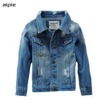 Childrens Jackets Fashion Design Hole Style Long-sleeved Boys Denim jackets For 3-12 Year Kids Coats Clothing