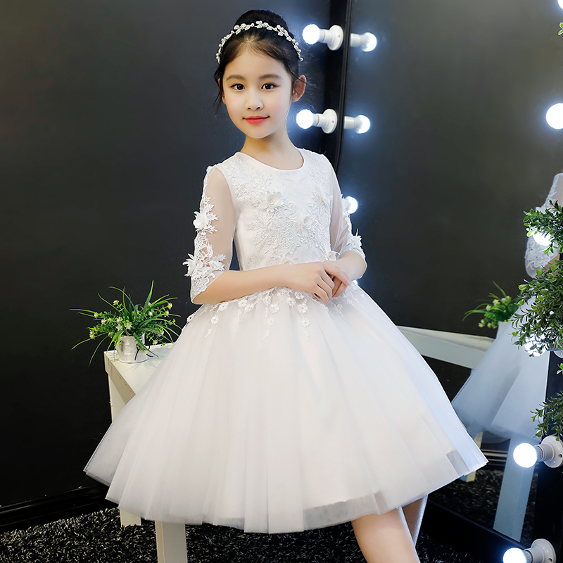 Фотография 2018 Spring New Babies Girls White Color Princess Lace Dress For Birthday Evening Party Children Dance Host Communication Dress