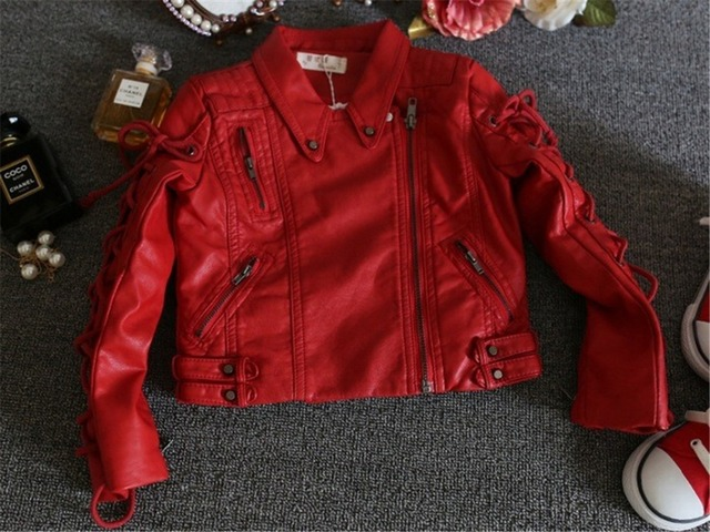 Children Clothing Spring Autumn Fashion Cardigan Pockets Zipper Girls Faux Leather Jackets Coats Outerwear Christmas costumes