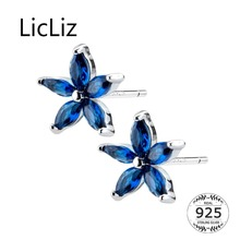 LicLiz 2019 New 925 Sterling Silver Blue Ziron Flower&Square Stud Earrings for Women White Gold CZ Crystal Jewelry Gift LE0572