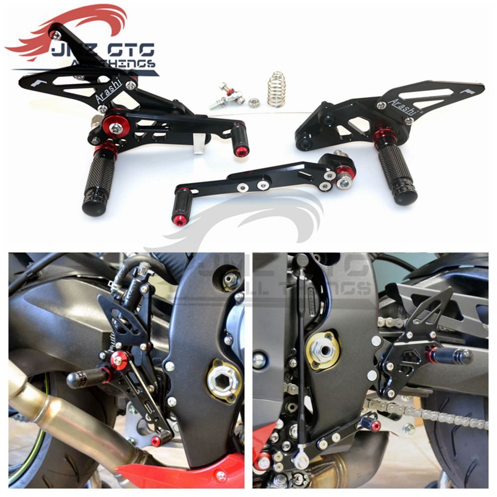 Motorcycle CNC Adjustable Rear Set Rearsets Footrest Foot Rest For SUZUKI GSXR1000 2009 2010 2011 2012 2013 2014 2015 2016-in Foot Rests from Automobiles & Motorcycles    1