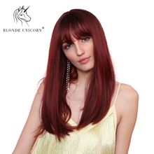 Blonde Unicorn 16 Inch Long Straight Synthetic Wig with Bangs Red Light Brown Co