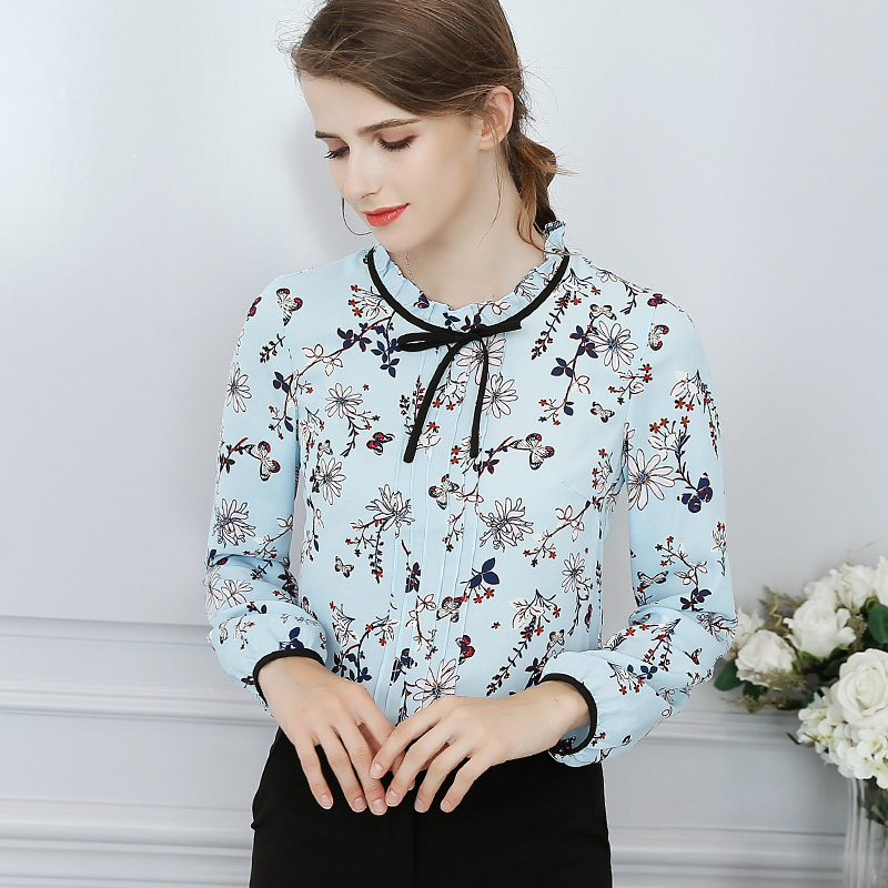 2018 New Summer Women Chiffon Blouse Fashion Long Sleeved Blue Floral Shirts Female Office Lady Slim Tops