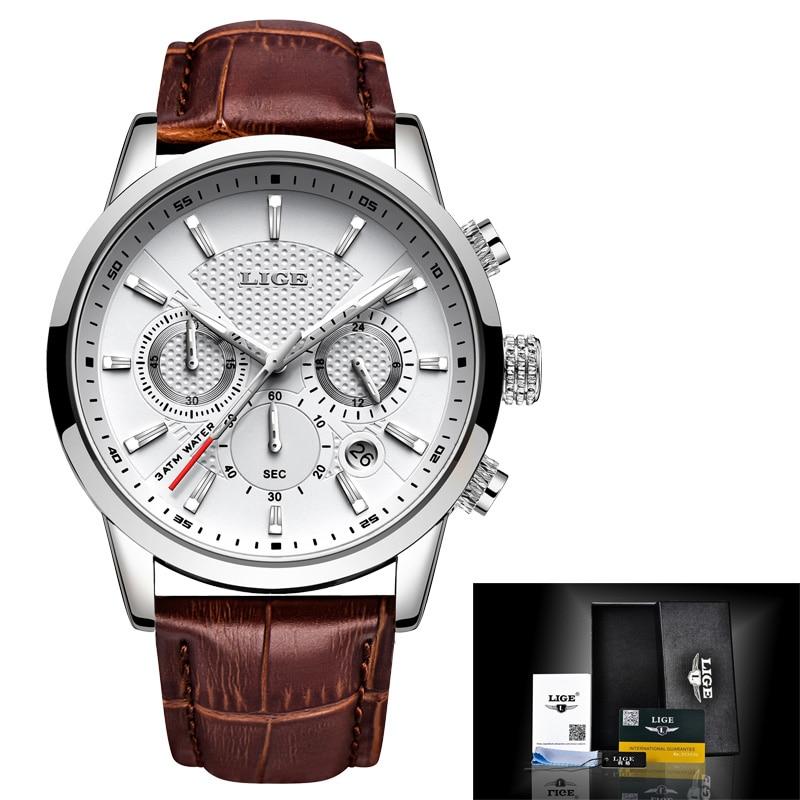 LIGE Mens Watches Gift Top Luxury Brand Waterproof Sport Watch Chronograph Quartz Military Genuine Leather Relogio Masculino 5