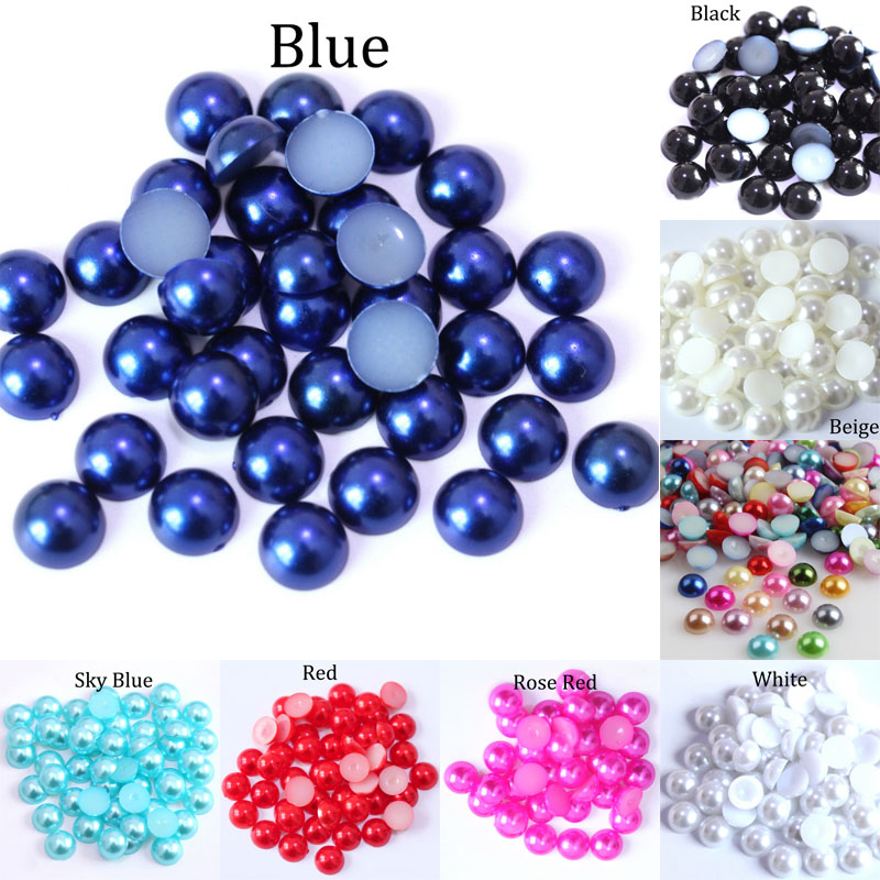 3 4 5 6 8 10 12MM Imitation Pearl Round Half Bead Bulk Wholesale Beads For Jewelry Making Scrapbook Beads Decorate Diy Accessory