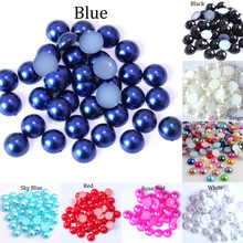 3 4 5 6 8 10 12MM Imitation Pearl Round Half Bead Bulk Wholesale Beads For Jewelry Making Scrapbook Beads Decorate Diy Accessory(China)