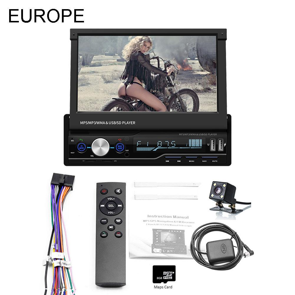 7 Inch 1 DIN Touch Screen Car MP5 Player GPS Sat NAV Bluetooth Stereo Retractable Radios Camera Support For Multi-Languages 20197 Inch 1 DIN Touch Screen Car MP5 Player GPS Sat NAV Bluetooth Stereo Retractable Radios Camera Support For Multi-Languages 2019