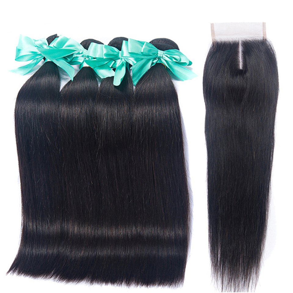 Remy Straight Hair Bundles With Closur 100% Human Hair Extension Peruvian Hair 4*4 Lace Closure With Bundles