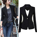 women slim autumn blazer long sleeve one botton casual  women solid blazer cotton & spandex Jacket Coat office wear plus size