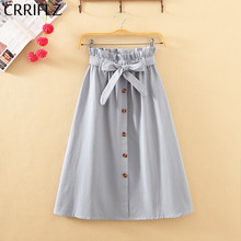 CRRIFLZ Summer Autumn Skirts Womens 2019 Midi Knee Length Korean Elegant Button High Waist Skirt Female Pleated School Skirt