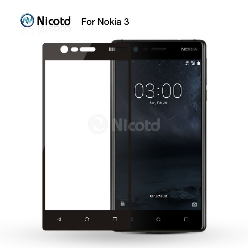 Nicotd For Nokia 3 Full Cover 2.5D Explosion Proof Tempered Glass For Nokia Three Screen Protector Toughened Protective Film