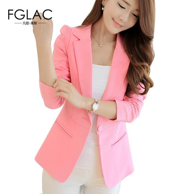 FGLAC Women Blazers New 2017 Spring Solid color Blazer Jackets Fashion Casual long sleeve Single button Women Coat