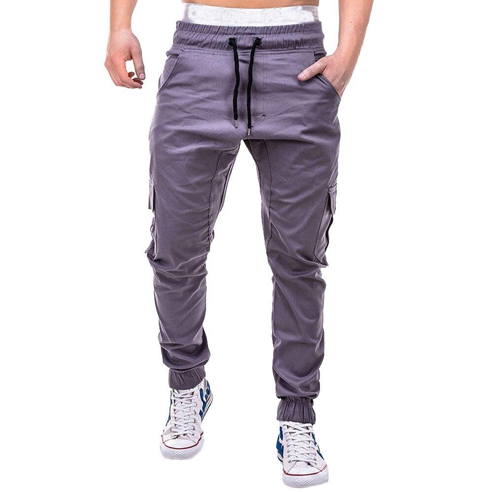 Большие размеры 4xl Мужская мода фитнес джоггеры одежда для мужчин s лоскутное повседневное Свободные тренировочные брюки уличная Мужская шнурок брюки - Цвет: Серый
