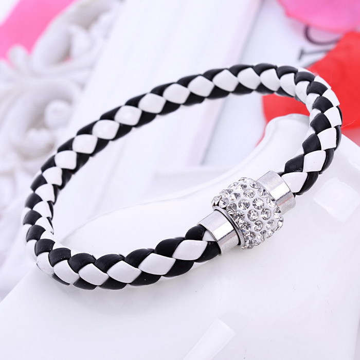 free ePacket ship 12 colors Pu Leather Bracelet Crystal Ball Black and White Braided Fireball Magnetic Clasp shamballa bracelet