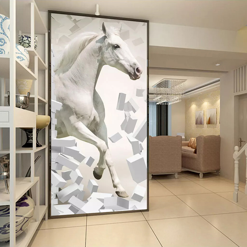 Custom Wallpaper 3D Stereoscopic Embossed White Horse