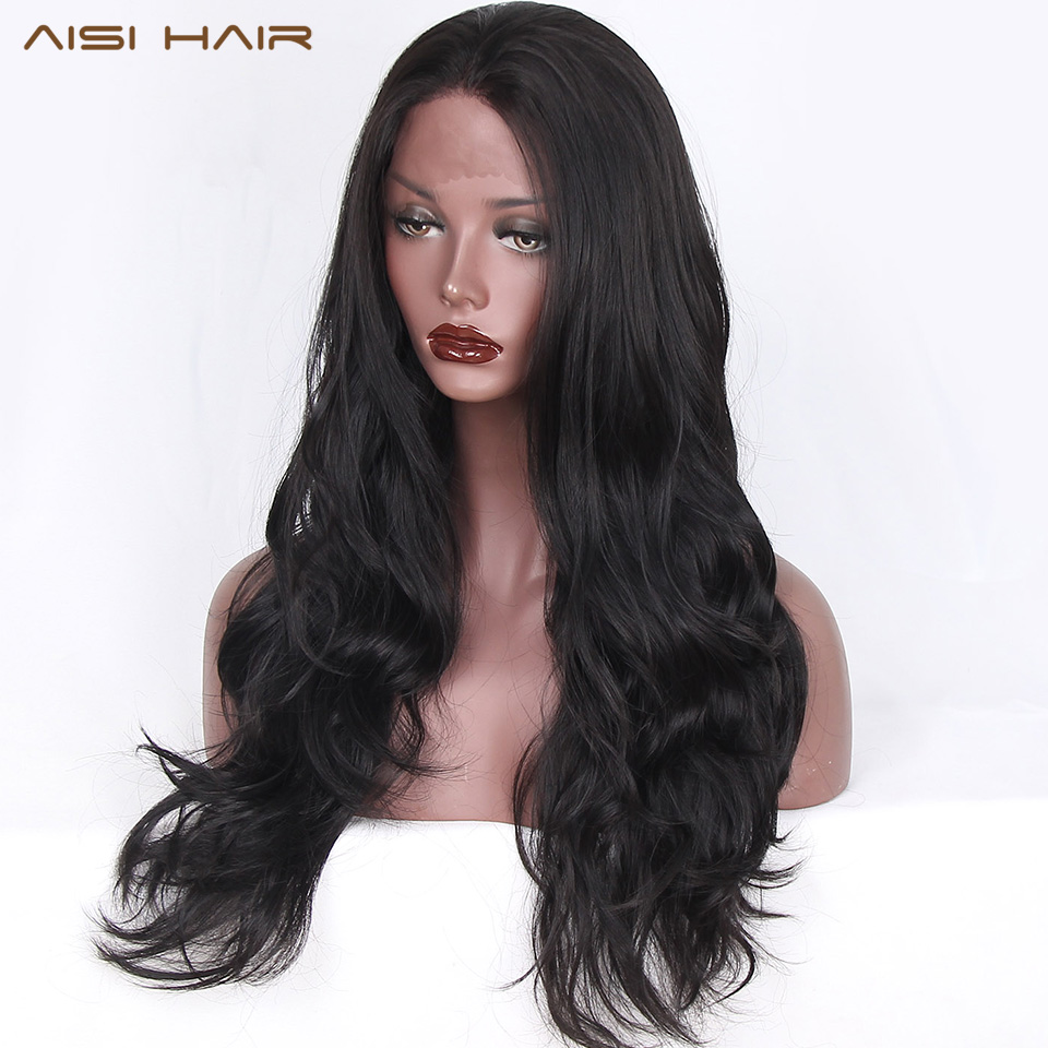 AISI HAIR Synthetic Lace Front Wigs Heat Resistant Ombre for Women Black Long Wavy Black Color
