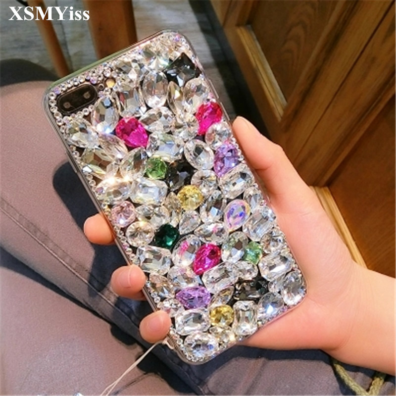 XSMYiss Rhinestone Case Diamond Bling Phone Cover coque fundas For Xiaomi mi 5S 6 8 Lite 9 SE 5X 6X A2 MAX2 MAX3 MIX3 Shell