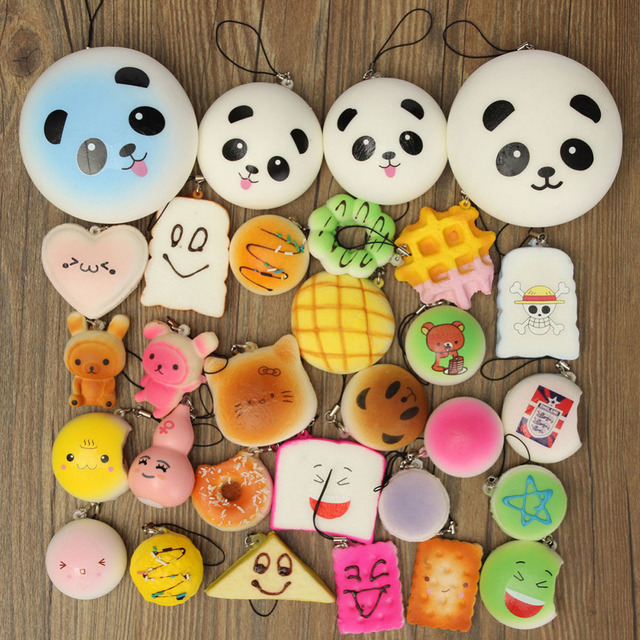 12PCS/Set Mix Cute Soft Kawaii Squishy Bread Keychain Charm Strap Panda Toasts Donuts Bag Car Key Ring for Women Girls Gift