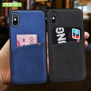 Image 2 - MOFi dla iPhone 7 8 X etui na iPhone 7 8 Plus torba etui na karty etui dla iphonea X 10 skrzynki pokrywa PU skóra luksusowy portfel na karty tylna okładka