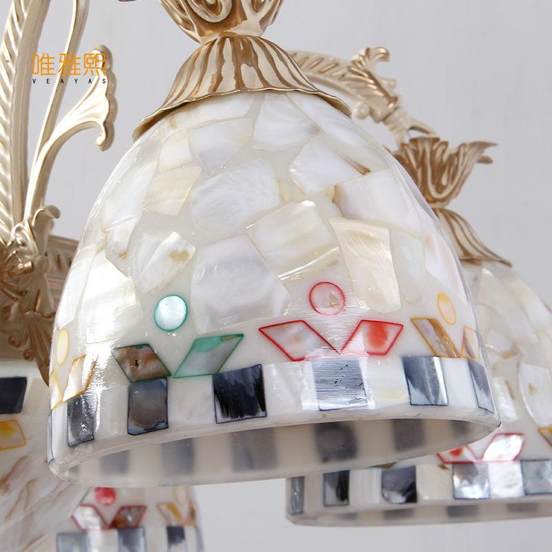 Gold Kronleuchter antike Lampe Wandleuchte Tiffany Light Conch Glas - Innenbeleuchtung - Foto 4