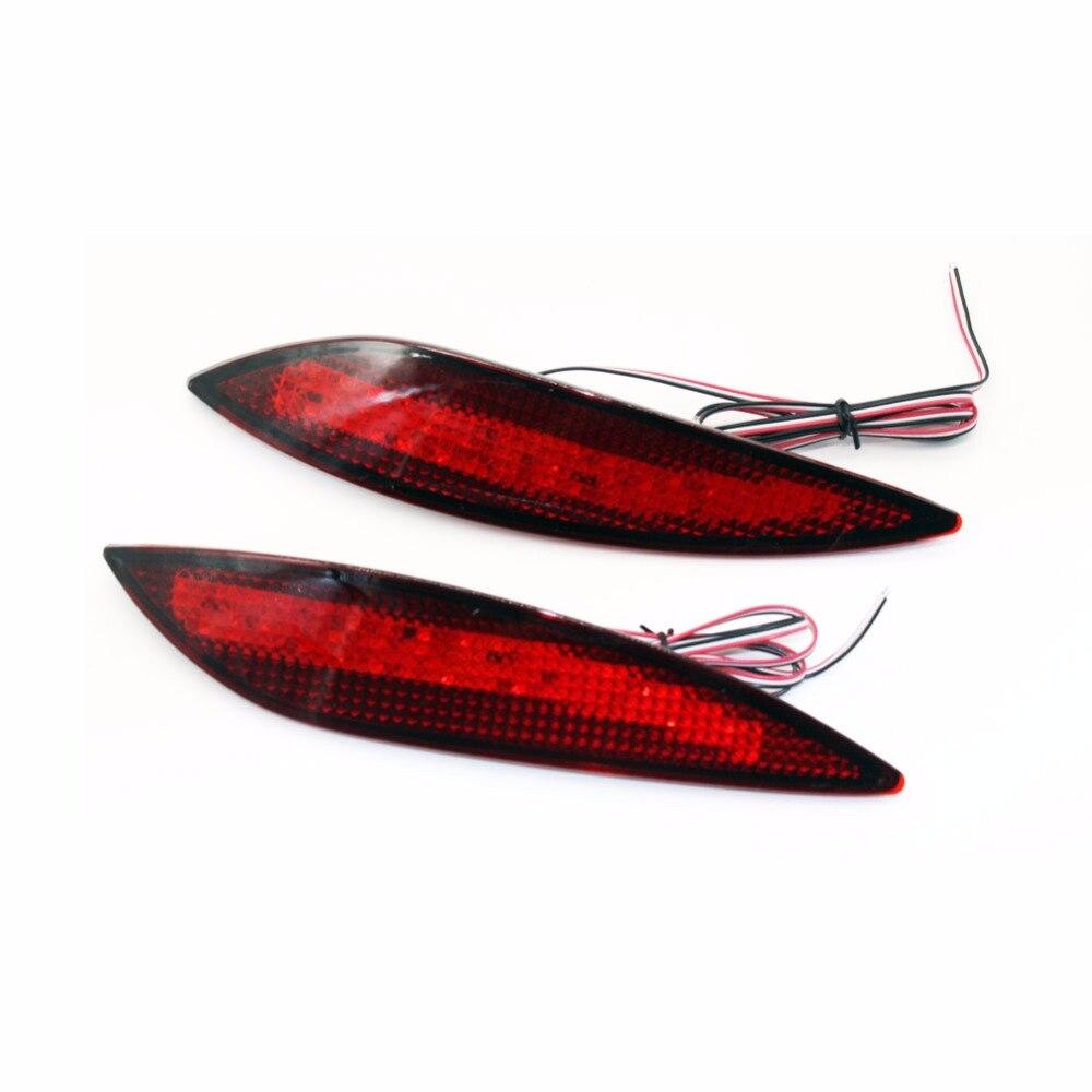 2PCS Car Tail Red lens 48LED Rear bumper reflector light brake lamp stop light rear fog lamp for Volksvagen VW Tiguan 2008-2015