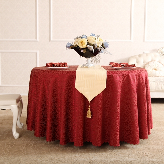 Flower Jacquard Table Cloth Cotton Polyester Decoration Red Tablecloths  Round Rectangular Wedding Table Cloth Free Shipping