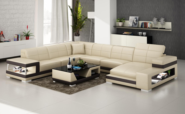 precio barato diseño en forma de l sofá de cuero muebles de sala set
