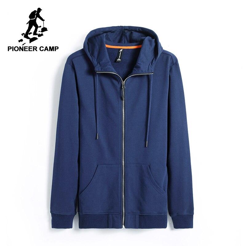Pioneer Camp hoodies hommes marque-vêtements casual solide sweat à capuche mâle top qualité noir foncé bleu AWY701206